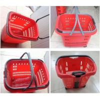 Quality Stackable Plastic Shopping Basket With Wheels For Grocery / Supermarket for sale