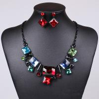 China Retro pop stained glass necklace Classic Square Necklace Square earrings Rectangular jewelry wholesale MD1415 on sale