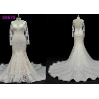Buy cheap long sleeves customize made lace application bridal gown wedding dresses from wholesalers