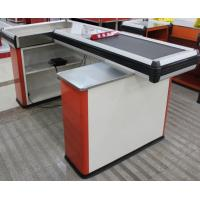 Quality Steel Conveyor Belt Checkout Counter Supermarket Cashier Counter Table With Motor for sale