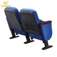 Quality Church Long PP Outer Back Pocket Wrap Fabric Auditorium Chairs With Metal Legs for sale