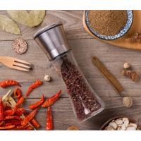 Quality 6oz Grinder Seasoning Shaker Bottles 18 / 8 Stainless Steel Lid Glass Spice Jar for sale