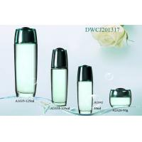 Quality Clear Serum / Lotion Cosmetic Glass Bottle And Jars Set With Plastic Caps for sale
