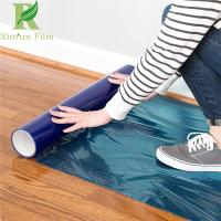 Quality 0.03-0.2mm Clear Blue Self Adhesive Hardwood Floor Protection Film for sale