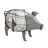 China Pig-Shaped Metal Chicken Wire Basket With Handle, Galvanized Finish on sale