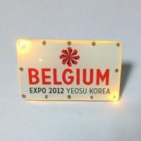 Quality Rectangle LED Badge, Flashing Pin Badge of 2012 Expo for Souvenir Gift for sale