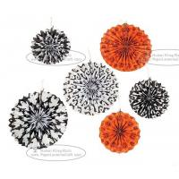 Quality Hallowmas Paper Fan Round Folding Fans Hanging Party Home Decorations for sale
