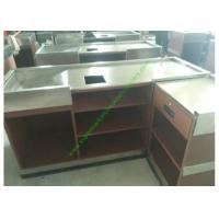 Quality Coffee Bar And Supermarket Checkout Counter Table / Metal Cash Wrap Counter for sale