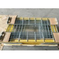 Quality T6 Steel Grating Stair TreadsWith Yellow Nonskid Nosing Low Carbon Steel for sale