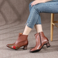 Quality HZM031 Leather Boots Pointed Toe Temperament Handmade Women'S Boots With Thin And Thin Boots Women'S Thin Martin Boots L for sale
