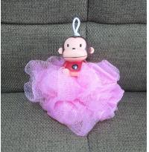 Quality Cartoon Monkey Bath / Shower Body Puff Sponge Mesh Ball shenzhen ICTI factory for sale