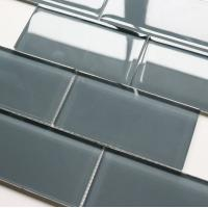 China Light Grey Color Glass Mosaic Tiles / Subway Tile Design Glass Mosaic 30x30cm on sale