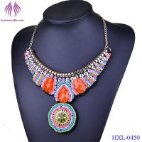 Quality Women Collar Chokers Necklaces Fashion Multicolor Resin Glass Bead Statement Necklace for sale