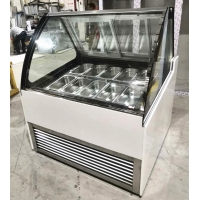 Quality Commercial 18 Trays Air Cooling Ice Cream Display Freezer Italian Gelato Glass Display Refrigerator for sale