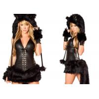 Black Faux Fur Party Adult Costumes Sexy Black Cat Costume for Halloween Party