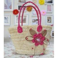 Quality Straw beach tote bag with PU handle for sale