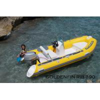 Quality 13Ft Fiberglass Hull Small Rib Boat  in yellow color for fun on the sea for sale