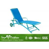 China Black Aluminium Patio Sun Loungers Outdoor Chaise Lounge Chairs With Wheels Light Weight on sale