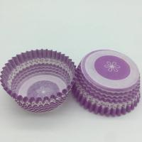 Quality Purple Round Shape Muffin Paper Cups , Striped Cupcake Liners FDA SGS Standard for sale