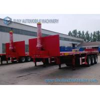China 40 Ft  Container Flatbed Dump Heavy Duty Flatbed Trailer 3 Axles 50T on sale