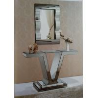 Unique V Style Narrow Mirrored Console TableWith Match Wall Mirror