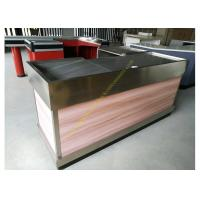 Quality Stainless Steel / Wood Cashier Checkout Counter Electrostatic Spray Surface Treatment for sale