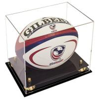 Quality Customized Acrylic Rugby Ball Display Box / Clear Acrylic Box Display Cases for sale