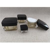 Quality Anti Bacterial Acrylic Jars For Cosmetics Black / Gold Color Square Shape for sale