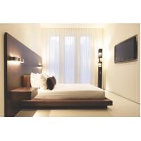 Quality Hotel Furniture Wood panel cleats to wall Headboard with attached Upholstered headboard and two floating nightstands for sale
