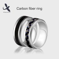Quality Simple & Stunning Real Carbon Fiber Inlay Ring Tungsten Carbon Fiber Wedding Ring Size #678910 for sale