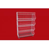 Quality Collapsible Metal Wire Storage Baskets , Mobile Tiered Wire Basket Display Shelf for sale