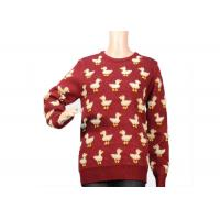 Quality Ladies Crew Neck Red Mohair Sweater Jacquard 9 Gauge Cute Duck Knitted Pattern for sale