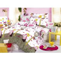 China Customized Pink Cartoon Printed 100 % Cotton Kids Bed Sheet Sets for Girls on sale