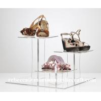 Quality Customized Square design Three Tier Acrylic  Shoe Display Holder / Rack / Stand for sale