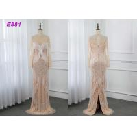 Quality Heavy beading evening dress tassels long sleeves sheath formal party dress for sale