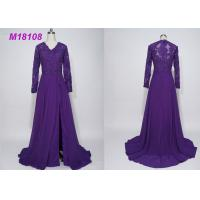Quality Women Purple Mother Of The Bride Formal Gowns , Cloak Plus Size Mother Of The Bride Gowns for sale