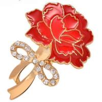 Quality Mother's Day gift carnation brooch crystal corsage TJ0104 for sale