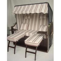 Quality Outdoor Garden Dark Brown Roofed Wicker Beach Chair & Strandkorb With Cushion for sale