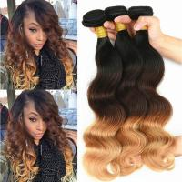 Buy cheap Brazilian Ombre Human Hair Body Wave, No Shedding Color1b/4/27# Coloured Hair Extensions from wholesalers