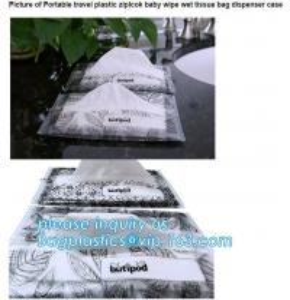 China Biodegradable BUTIPOD bag, portable travel ziplock baby wipe wet tissue bag, dispenser case packaging, tissue packaging on sale