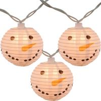 Quality Led Paper Lanterns Hanging Outdoor String Lights 8 Cm Square Snowman Shaped for sale