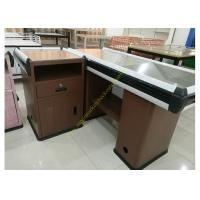 Quality Convenience Supermarket Checkout Counter And Cashier Desk  With Display Shelves for sale