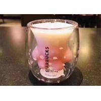 Quality Starbucks Handmade Cat Claw Cup / Pink Color Glass Coffee Cups For Gift for sale