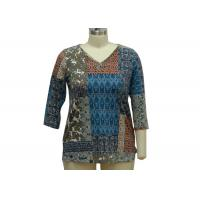 Quality Stone Patterned Ladies Casual T Shirts Dressy Womens Tops 200gsm Fabric Weght for sale