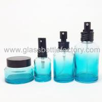 Quality 50ml Blue Color Painting Glass Lotion Bottle For Cosmetic and 30g Glass Cream Jar for sale