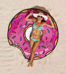 Cheap Price Low MOQ custom design print  $5 per piece round donut beach towel