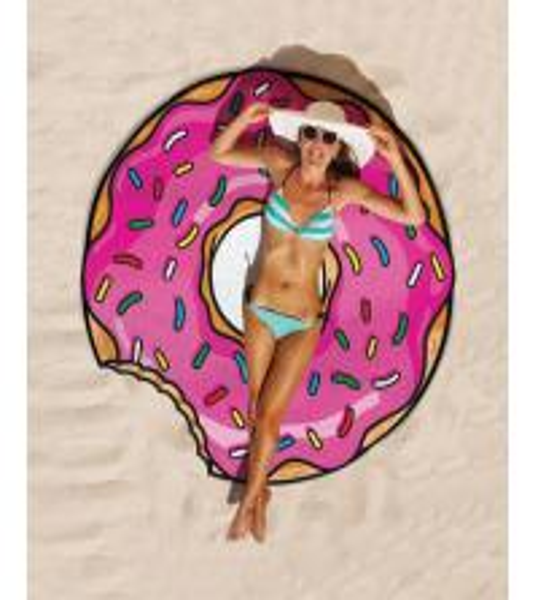 Buy Cheap Price Low MOQ custom design print  $5 per piece round donut beach towel at wholesale prices