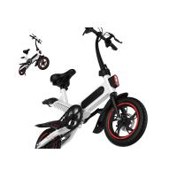 High Load Ability Small Folding Electric Bike White / Black / Red Ergonomics Design