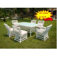 Quality Patio Rattan Garden Dining Sets 7pcs Wicker Outdoor Dining Sets for sale