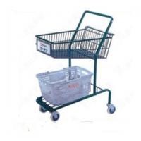 Buy Heavy Duty Double Basket Shopping Trolley Steel Shop Cart With Baby Seat at wholesale prices
